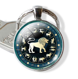 Wholesale led electronic signs - Constellation Jewelry Key Chains Zodiac Signs Keychain Key Rings Bag Car Round Glass Cabochon Pendant Man Woman Gift