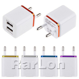 ipad docks Promo Codes - Metal Dual USB wall Charging Charger US EU Plug 2.1A AC Power Adapter Wall Charger Plug 2 port for Samsung Galaxy Note LG Tablet Ipad