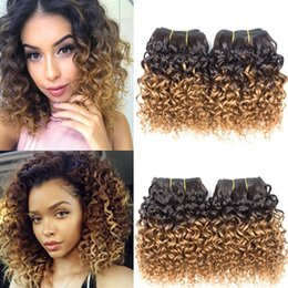 short curly human hair weave Promo Codes - Brazilian Curly Hair 4 Bundles Short Deep Curly Human Hair Weave Bundles Brazilian Ombre Kinky Curly Virgin Hair Extensions 50g Bundle 1B 30