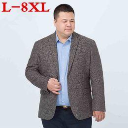 2019 traje de punto vintage más el tamaño 8XL traje de punto de los hombres ocasionales Blazer negocio suelto traje Homme Blazer Masculino Masculino trajes de lana vintage chaqueta de abrigo traje de punto vintage baratos