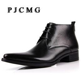 alta scatola rotonda Sconti PJCMG Fahsion Classic Vintage Cowboy Stivaletti punta a punta Casual in vera pelle marrone / Blackd Designer Mens Dress Boots