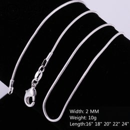 silver jade for men Coupons - Cheap Wholesale 925 Sterling silver 2MM smooth snake Rope Chains Necklaces For women men Fashion Jewelry in Bulk Size 16-24 inches
