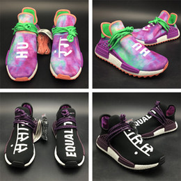 Wholesale canvas shoes volleyball - Pharrell Human Race Hu Trail Shoes Sales, 2018 PW Holi Blank Canvas Williams Runner Sneaker Nerd BBC Cotton Candy Colorful Athletic Size 13