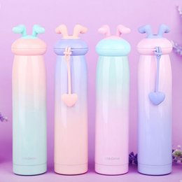 water bottle for kids wholesale Promo Codes - Rabbit Stainless Steel Water Bottle Vacuum Cup Heat Preservation Anti Scald Originality Silicone Handle Cartoon Mug For Kids 25lw jj