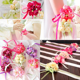 Wholesale Groom Brooch Boutonniere - Artificial Flowers Wedding Boutonniere Groom Groomsman Pin Brooch Corsage Suit Decoration Bride Bridesmaid Wrist Flower Rose DHL WX9-397