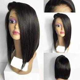 peluca de encaje bob en capas Rebajas Pelucas cortas del cordón del pelo humano del cordón completo para las mujeres negras Pelucas delanteras brasileñas acodadas del cordón de Bob con el pelo del bebé Pre Plucked Natural Hairline
