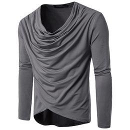 Drapiertes hemd online-Frühling und Herbst Männer Mode Reine Farbe Freizeit Langärmelige Drapierte T-shirt Für Mann Größe S-2XL