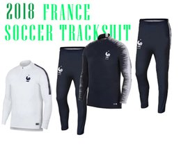 Wholesale Tracksuits Jacket Pants - 2018 FRANCE SOCCER jacket POGBA tracksuits SWEATER soccer chandal football tracksuit adult training suit skinny pants Sports