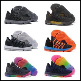 a0054bec5f34 2018 New Zoom KD 10 Anniversary PE BHM Oreo triple black Men Basketball  Shoes KD 10 Elite Low Kevin Durant Athletic Sport Sneakers