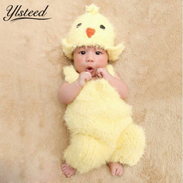 Wholesale Kawaii Winter Hats - 0 -2m Newborn Photography Props Super Soft Crochet Baby Yellow Chick Hat +Costume Set Cute Baby Kawaii Baby Photo Shoot