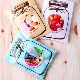 Wholesale Food Choice - 100pcs 3-color for choice Beautiful Jar self adhesive seal bags cello bag for cookie candy chocolate packing