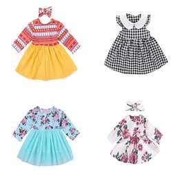 Wholesale mixed girl babies - Baby Girls Dresses 0-24M Baby Floral Dress Multi Color Stripes Long Sleeve Round Neck Cotton Mixed Design Size Outfits