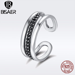 Wholesale urban rings - BISAER Authentic 925 Sterling Silver Female Urban Line Black CZ Adjustable Finger Rings for Women Engagement Jewelry Anel GXR242