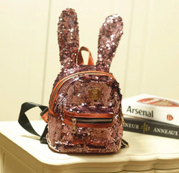 Wholesale travel children baby - New fashion cute rabbit big ears fashion sequins backpack children travel bags female baby backpack small school bag