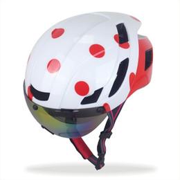 Wholesale Bike Visor - Winowsports White & Red 55-61cm Aero Road Bike Helmet with Detachable Goggles Shield Visor