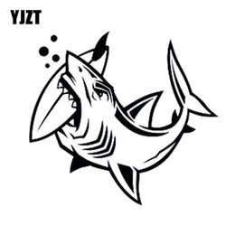 Wholesale Decal Shark - YJZT 16.4cm*15cm Individualized Shark Bites Surfboard FISH Vinyl Car-styling Car Sticker Decals Black Silver C11-0127