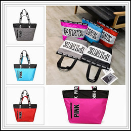 Wholesale Arts Shops - 9 Colors Pink Letter Handbags Women Shoulder Bags Love Pink Waterproof Shopping Bag Handbag Secret Travel Duffle Bags CCA8953 12pcs