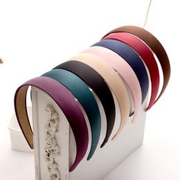 Fascette a fascia online-2,5 centimetri Head Hoop Hair Clasp per le donne in raso colorato ricoperto Hairbands nastro coperto copricapo accessorio per capelli
