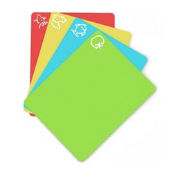 Wholesale Flexible Plastic Cutting Board - Plastic Non-slip Rectangle Chopping Block Cutting Board Flexible Mats With Food Icons Kitchen Tools