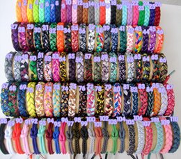 Geflochtene armbänder online-Braid String Armband DIY Seil Schnürsenkel Fashion Mens Cord Armband Schmuck Lot Mixed Styles 17cm Großhandel