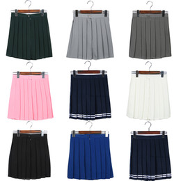 Wholesale Cosplay School Uniform Skirt - Wholesale-Mini Skirt High Waist Pleated Skirts JK Student Girls Solid Pleated Cute Cosplay School Uniform Skirt