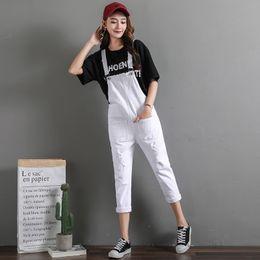 4caef524975 Korean White Loose Women Denim Jumpsuits Overalls 2018 Summer Ripped Hole  Black Denim Romper Playsuits Ladies