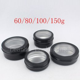 Wholesale aluminum window glass - Empty Black Aluminum Cream Storage Container With Window Metal Cans Cosmetics Jar Round Aluminum Butter Bottle,Display Tin Pot