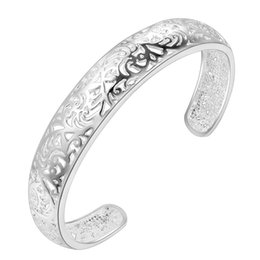 Wholesale Young Women Jewelry - whole salearrival big flower open silver bracelet bangle for women jewelry alloy parallel bars charm bracelet for young ladies