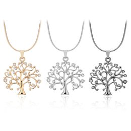 Wholesale Gray Statement Necklace - Fashion Tree of Life Rhinestone Pendants Statement Necklaces Designer Jewelry Stainless Steel Jewelry Affection Chokers Mothers Day Gifts