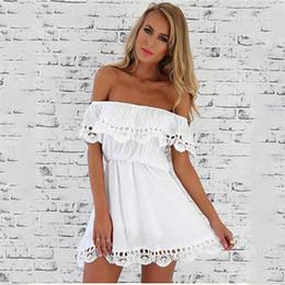 Nouvelle mode femmes robe élégante Vintage dentelle douce blanche robe élégante sexy slash cou casual slim plage été soleil robe robes ? partir de fabricateur