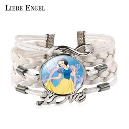 Wholesale Snow White For Girls - LIEBE ENGEL Charm Snow White Glass Cabochon Infinity Love Leather Bracelet For Girls and Women Vintage Jewelry