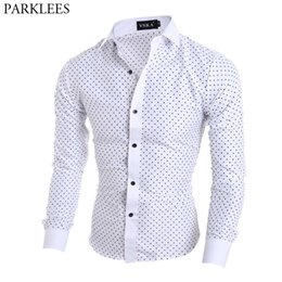8a756c6ba4635df 2019 мужская белая рубашка полька точка Мужская Горошек Печати Белое Платье Рубашки  Slim Fit С Длинным