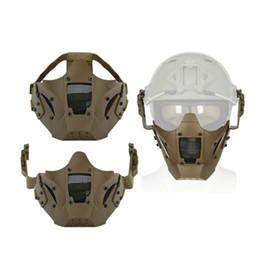 2019 capacete de paintball airsoft Airsoft Tactical Metade Máscara Facial Acessórios de Paintball Máscaras de Esqui Protetor de Esportes Ao Ar Livre Capacete Acessórios Com Mix Color 48lm jj capacete de paintball airsoft barato