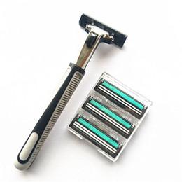 lâminas para homens Desconto Antiquado Handmade Lâminas de Barbear Dos Homens De Aço Inoxidável Dupla Baralho Simples Prático Firma de Barbear Durável Fácil de Limpar 16jr jj