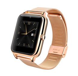 Tarjeta de actualización online-Z60 Bluetooth Smart Watch Soporte de acero inoxidable Tarjeta SIM TF Cámara Rastreador de ejercicios VS GT08 Actualizar Smartwatch para IOS Android