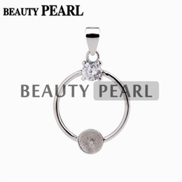 Wholesale circle pieces - 5 Pieces Circle Pendant Pearl Mountings 925 Sterling Silver Set Prongs Round Cut Clear White Zircon