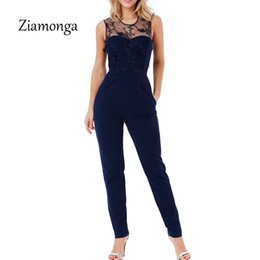 Wholesale ladies animal print jumpsuits - Ziamonga Elegant Off Shoulder Lace Rompers Womens Summer Jumpsuit Sexy Ladies Casual Long Pants Overalls For Women Jumpsuit 2018