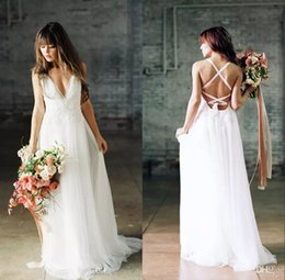 Wholesale Wedding Dresses For Fall - 2017 sexy elegant beach boho wedding dresses backless lace bridal gowns for beach bohemian wedding
