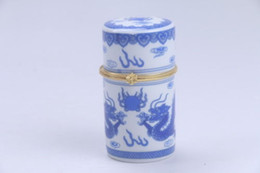Wholesale dragonfly painting - Exquisite Chinese painting dragon Porcelain Toothpick box