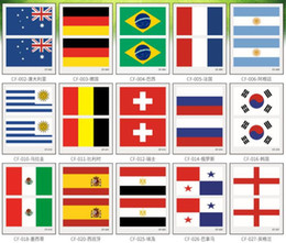 Wholesale Side Tattoos - 2018 Russia world cup tattoo sticker Temporary National flag Football Game Body Face Hand Tattoo stickers For Men and Women 60*80mm