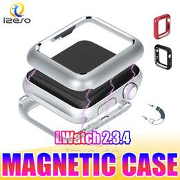 relojes de lujo Rebajas Para Apple Watch Series 4 Caja de parachoques de adsorción magnética para iWatch 4 Funda 40mm 44mm Cubierta de marco de metal ultra delgado y liviano para nuevo