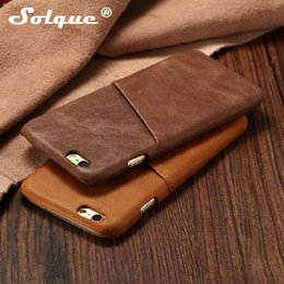 Wholesale Retro Cell Phone Covers - Soqlue Genuine Leather Case For Iphone 6 6s Plus 6plus Cell Phone Luxury Leather Slim Card Hard Shell Back Cover Retro Vintage