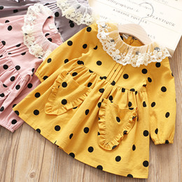 Wholesale Korean Lace Dresses - Everweekend Lovely Kids Girls New Spring Dots Sweet Dress Children Girls Print Korean Princess Lace Collar Dress