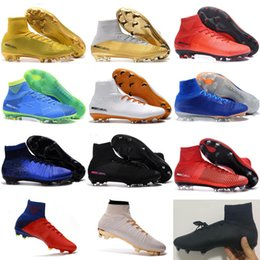 Wholesale High Boots For Womens - Wholesale 2017 Soccer Shoes For Men'S Mercurial Superfly Fg Cr7 Sock Boots Football Womens Mens High Tops Ronaldo Ankle Indoor Soccer Cleats