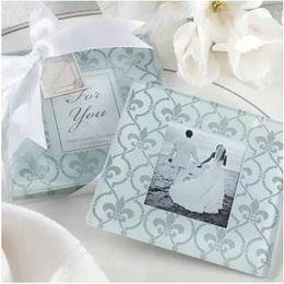 Wholesale Wholesale Photo Frames Favors - 60sets=120pcs lot Classic Glass Coasters Photo Frame, Wedding Favors Gifts,