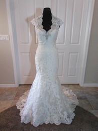 Wholesale Mermaid Wedding Gown Beaded - Stunning Lace Wedding Dress Edge V Neckline Illusion Cap Sleeves Crystal Beaded Keyhole Back Customized Bridal Gown 1105