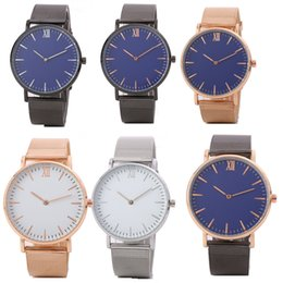 Wholesale Ladies Watch Faces - Fashion unisex mens women coloful face roma design metal alloy mesh band watch luxury men ladies casual dress quartz watches