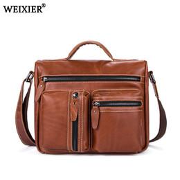 New Vintage Genuine Leather Men Bag Men Briefcases male Leather business  Computer Laptop Bags Crossbody Bags Mens Messenger Bag 8106e71b5b56d