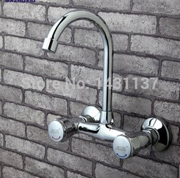 Wholesale Pipe Wall Mount - wholesale and retail wall mounted brass chrome hot and cold kitchen faucet with swiveling pipe sink faucet basin