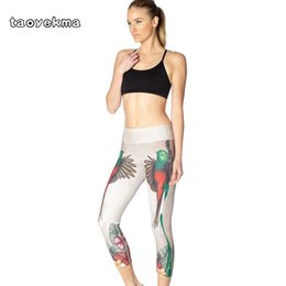 leggings bird print Promo Codes - Women Jogging Leggings Skinny Bird Digital Print Yoga Pants Digital Print Breathable Quick Dry Capri Pants Wourkout GYM Leggings